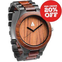 Stainless Steel Wood Watch // Black Coral Reef