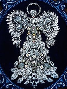 Large !  Vintage Rhinestone Jewelry Christmas Tree Framed  Angel Art 16 x 12