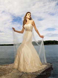 A-Line Strapless Embroidery Beading Taffeta Chapel Train Wedding Dress at Millybridal.com