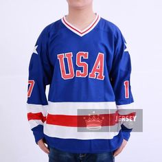 1980 Miracle On Ice Jack O'Callahan 17 USA Hockey Jersey White Blue