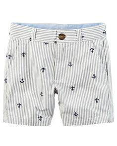 Schiffli Embroidered Anchors Twill Shorts
