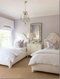 Ashley Goforth Design Lavender Room Elegant Twin Bedroom ♡  Http://teaspoonheaven.com