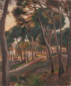 Roger Eliot Fry (Brit. 1866-1934), A Wooded Landscape with Goats, Oil on panel, 42.5 x 32.5 cm