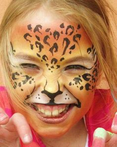 Cheeky Leopard Face Painting & Make up Using Kryolan Interferenze paints by Jemma Scott