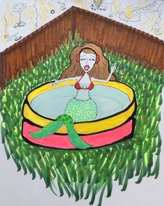 Siren in a kiddie pool Kiddie Pool, Mythical Creatures, Activities, Kiddy Pool, Magical Creatures, Mythological Creatures