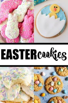 Easter Cookies - Looking for cute, tasty and spring-like Easter cookies? These list features lots of yummy treats to try at home. Cute Easter Desserts, Easter Deserts, Easter Treats, Easter Recipes, Cookie Desserts, Holiday Desserts, Holiday Recipes, Cookie Recipes, Passover Holiday