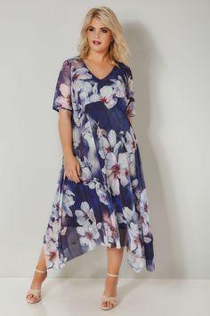 YOURS LONDON Navy Floral Midi Dress With Hanky Hem 5c4e22a2d