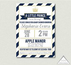 Prince Baby Shower, A Little Prince is on the Way, Navy and Gold Baby Shower, Digital Invitation, Printable Invitation, Boy Baby Shower