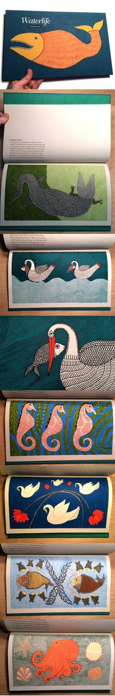 """Waterlife is a very special book. It is fit for any child's bookshelf or adult's coffee table. Whereas there is no storyline in the traditional picture book sense, there is a story in its art and the making of the book. Illustrated in his version of the Mithila tradition of folk art, artist and author Rambharos Jha depicts several creatures of the water in 12 spreads."""