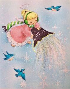 #retrochristmas, #christmasangel, #babyangel, Vintage Christmas Card, Retro Christmas Card, #christmasbell, #holidaybluebird
