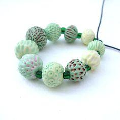 Handmade Porcelain Beads - Spring Seed Heads >> by seapods (Lisa Stevens)