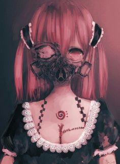 Cute Anime pink hair girl with gas mask