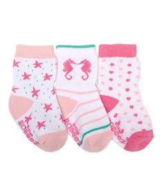 Pink By The Seaside Three-Pair Socks Set