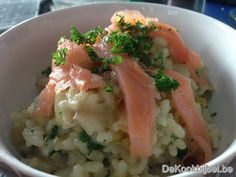 Risotto, witloof, gerookte zalm Tapas, Dutch Recipes, Pasta, Other Recipes, Seafood Recipes, I Foods, Food Inspiration, Food Porn, Food And Drink