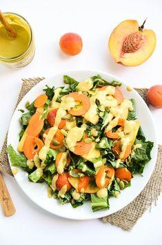 Kale & Stone Fruit Salad with Balsamic-Peach Vinaigrette - Blissful Basil Healthy Fruits, Healthy Salads, Healthy Cooking, Healthy Eating, Healthy Foods, Fruit Salad Recipes, Raw Food Recipes, Vegetarian Recipes, Healthy Recipes