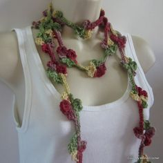 Crochet Flower Necklace  Flower Lariat  Lariat Scarf by patcreates,