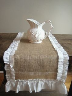 French Farmhouse Burlap Chic Runner White by PARISAPTCOUTURE, $28.95