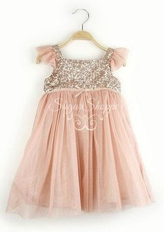 Blush Chiffon and Gold Sequin Girls Dress Birthday by sugarshoppe
