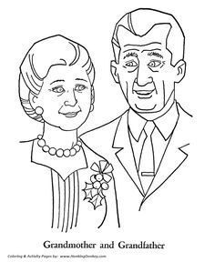 Grandparents Day Coloring Pages - Grandmother and Grandfather