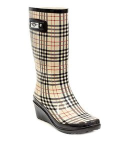 Look what I found on #zulily! Khaki Plaid Wedge Rain Boot by Forever Young Inc. #zulilyfinds