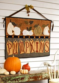 All for Fall Pumpkins Sign.  American Patchwork and Quilting magazine October 2011 Issue 112.  Check Magazine for instructions and requirements, saved in sewing room.