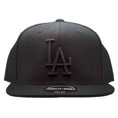 c537ba384fc American Needle Los Angeles Dodgers 400 Series Black Flat Brim Snapback Hat  Los Angeles Dodgers