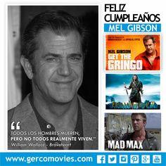 Hoy cumple 60 años el actor y director de cine estadounidense #MelGibson. ¡Felicidades! Gana un Oscar por #CorazónValiente