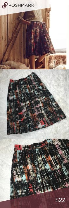 Anthropologie Flynn And Roses Pleated Skirt Excellent condition. Size 0. High waisted Printed skirt. Anthropologie Skirts A-Line or Full