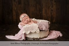 Baby Pics done in a studio, newborn photography, baby in a round bucket pose, vintage newborn photo ideas