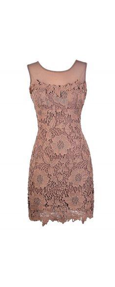 Crochet Lace Mesh Illusion Neckline Dress in Dusty Mauve www.lilyboutique.com