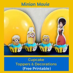 Free Minion Movie Printable Cupcake Toppers & Decorations