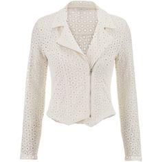 maurices Textured Eyelet Moto Jacket (630 RUB) ❤ liked on Polyvore featuring outerwear, jackets, coats, blazer, beige, moto jackets, white cotton jacket, white motorcycle jacket, white jacket and beige blazer