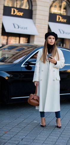 black beret x longline white coat #fashion #beret #chic