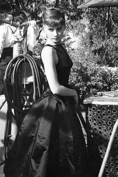 Audrey Hepburn on the set of Sabrina, photographed by Mark Shaw, 1953.