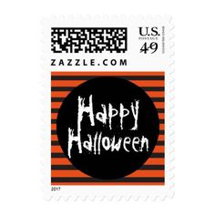#Happy Halloween Orange Black Striped Fun Font Postage - #Halloween happy halloween #festival #party #holiday