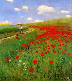 DIY beauty & Face masks : Illustration Description Pál Szinyei Merse (Hungarian Painter and Politician) The poppy field, 1896 Oil on canvas Magyar Nemzetí Galéria, Budapest -Read More – Watercolor Landscape, Landscape Art, Landscape Paintings, Watercolor Paintings, Painting Inspiration, Flower Art, Art History, Scenery, Art Gallery