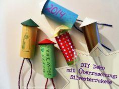 DIY Deko: Silvesterraketen mit Glücksbringern // funkelperlen.blogspot.de