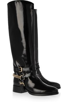 141.55$  Watch now - http://alij5g.worldwells.pw/go.php?t=32267802747 - Black Motorcycle Boots Chain Square Low Heel Knee High 2015 Autumn Boots For Women Shoes Custom Made Size US 14