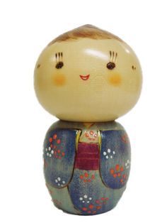"""Japanese Creative KOKESHI Wooden Doll Boy Blue Floral 4-1/2""""H, Made in Japan"""