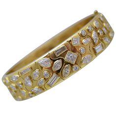 Fancy-Cut Diamond Bangle Bracelet OFFERED BY NALLY JEWELS