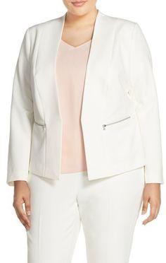 Halogen ® Zip Pocket Open Jacket (Plus Size)