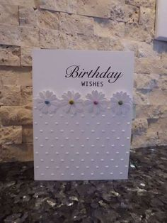 CAS birthday card - white on white with black sentiment - bjl