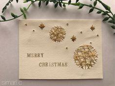 紙刺繍のオーナメントカード Embroidery Cards, Cross Stitch Embroidery, Winter Christmas, Christmas Crafts, Calligraphy Cards, Xmas Ornaments, Diy Cards, Tree Decorations, Advent