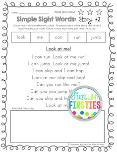 Simple Sight Word Stories to help students with reading comprehension practice (Dolch Pre-Primer sight words)