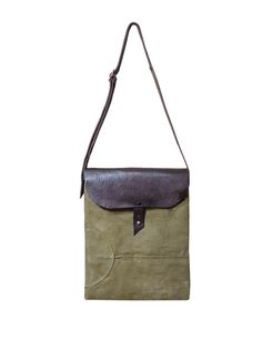 Sessa Carlo Waxed Canvas Cross Body Bag, Haversak w/ Adjustable Leather Straps, Olive - product images  of