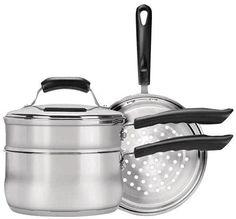 Range Kleen - Basics 3-Quart Saucepan with Double Boiler/Steamer Insert Set