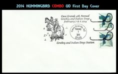 2014 HUMMINGBIRD Stamp UO COMBO First Day Cover Cowboy & Indian FDC #14-578