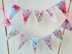 Vintage Tea Party Cake Bunting - Pastel, Pink, Blue, Shabby, Roses - Baby Shower, Bridal Shower Cake Topper
