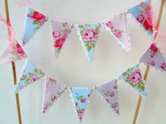 Vintage Tea Party Cake Bunting - Pastel, Pink, Blue, Shabby, Roses - Baby Shower, Bridal Shower Cake Topper