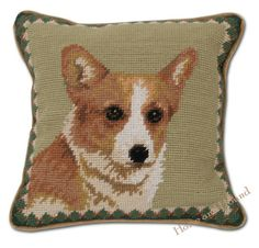 """Sable Corgi Needlepoint Pillow. The unique character of the Corgi dog captured in charming pillow. Hand-crafted in 100% wool needlepoint. Tan piping, backed in tan cotton velveteen. 10""""x 10"""""""